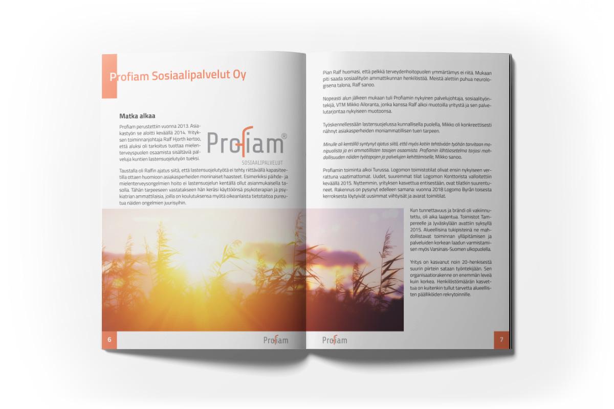 Diseño de paginas para folleto para Profiam