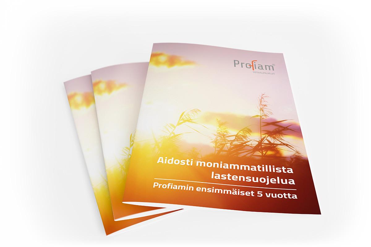 Diseño de portasas de folleto para Profiam