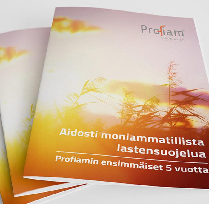 Diseño y maquetación de folleto para Profiam